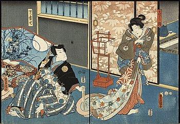 A set of four Japanese woodcut diptyks.