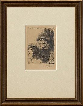 """ANDERS ZORN, etsning, """"Lavards Anders"""", signerad."""