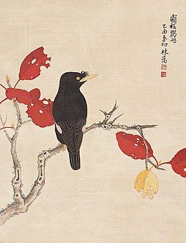 MÅLNING, akvarell och tusch på siden. Kina, 1900-tal, signerad Lin Ai.