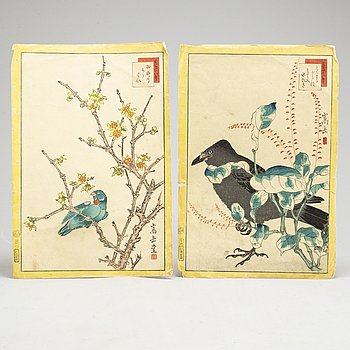 NAKAYAMA SUGAKUDO (act. 1850-60), two color woodblock prints, Japan, 1859.