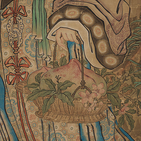 A hanging scroll, ink and color on paper, qing dynasty.