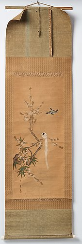 A hanging scroll, ink and color on silk. japan, 20th century.