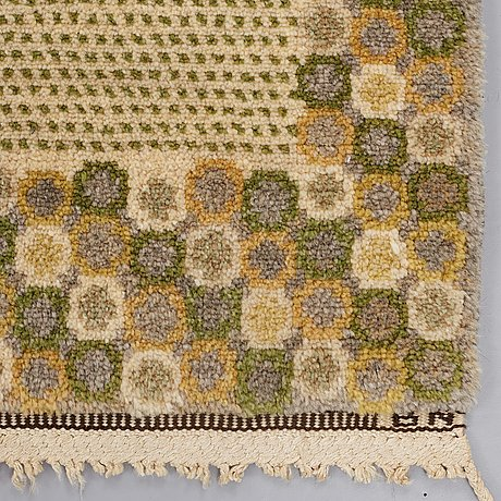 "Barbro nilsson, a carpet, ""gråingen"" probably, knotted pile, ca 223 x 144,5 cm, signed ab mmf bn."
