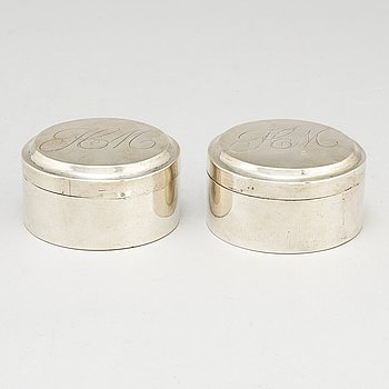 A pair of silver boxes by Carl Gustaf Herpel, Stockholm 1810.
