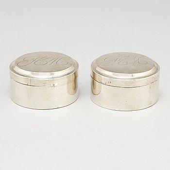 CARL GUSTAF HERPEL, dosor, ett par, silver, Stockholm 1810.