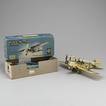 Two model airoplanes, one model 'De Havilland 80A' by Frog, England.