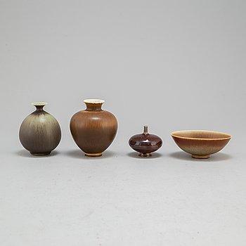 BERNDT FRIBERG, 3 vaser och skål, stengods, signerade, Gustavsberg.