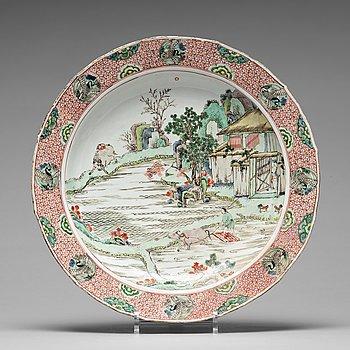 575. A crane medallion dish, Qing dynasty, Kangxi (1662-1722).