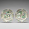 A large pair of famille verte dishes, qing dynasty, kangxi (1662-1722).