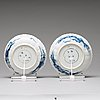 A pair of blue and white shallow plates, qing dynasty, kangxi (1662-1722).