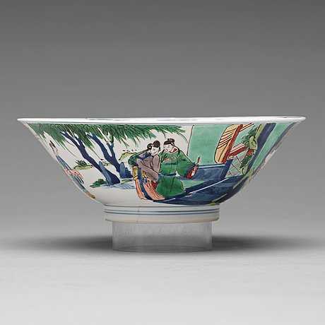 A famille verte conical bowl, qing dynasty, kangxi (1662-1722).