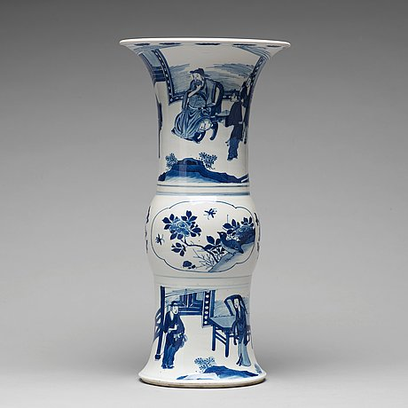 A blue and white gu shaped vase, qing dynasty, kangxi (1662-1722).
