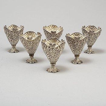 Zarfs, 6 st, silver 900/1000. Osmanska riket, Abd ül-Hamid II, 1890-tal.