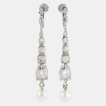 A pair of 18K white gold brilliant-cut and pearl earrings.