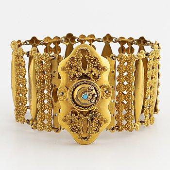 Bracelet, brass alloy possibly pinsback.