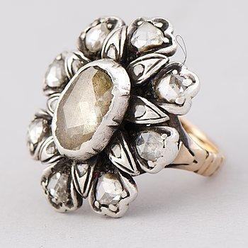 RING, rosenslipade diamanter, silver, guld.