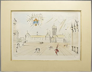 SALVADOR DALÍ, etching and stencil, signed 147/450.