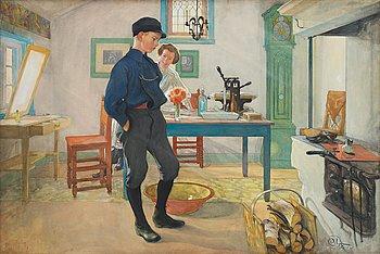 "682. Carl Larsson, ""Vet du vad? Var god och glad!"" / ""Esbjörn led"" / ""Grolle nicht"" (Esbjörn sulking)."
