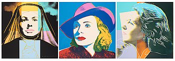 "336. Andy Warhol, ""Three portraits of Ingrid Bergman by Andy Warhol""."