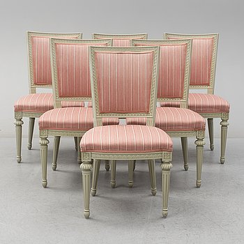 Six Gustavian style chairs from the second half of the 20th century.