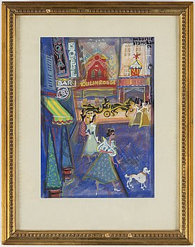MAURICE BLANCHARD, gouache, signed maurice blanchard and dated 54.