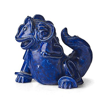 51. Wilhelm Kåge, a stoneware sculpture of a dragon puppy, Gustavsberg studio, Sweden 1940-50's.