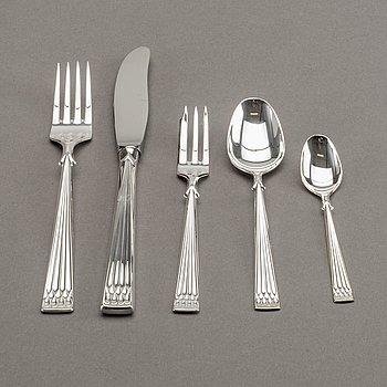 """BESTICKSERVIS, silver, 48 delar. modell """"Arvsilver"""" Th. Marthinsen."""