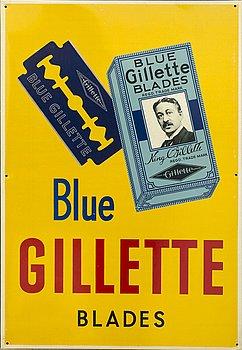 "REKLAMSKYLT ""BLUE GILIETTE BLADES"" The Metal Box Comapny Ltd (Hudson Scott Branch) Carlisle England, 1900-talets mitt."