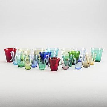 MONICA BRATT, glas 84 st samt 3 förpackningar, för Reijmyre 1950-tal.