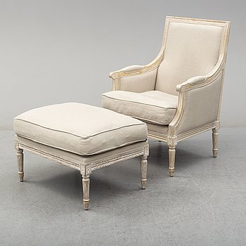 KARMSTOL OCH FOTPALL, Louis XVI-stil, 1900-talets slut.