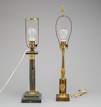 BORDSLAMPOR, 2 st, 1900-talets mitt.