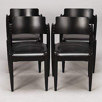 """ILMARI TAPIOVAARA, stolar, 4 st, """"Wilman stolen"""", Wilh. Schaumans Fanerfabrik Ab. Formgiven 1956."""