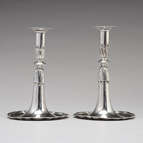 A pair of swiss 18th century silver candlesticks, unidentified makers mark, lausanne.