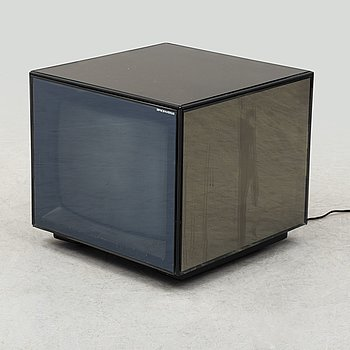 A 1990s 'Cuboglass' TV by Mario Bellini, Brionvega, Italy.