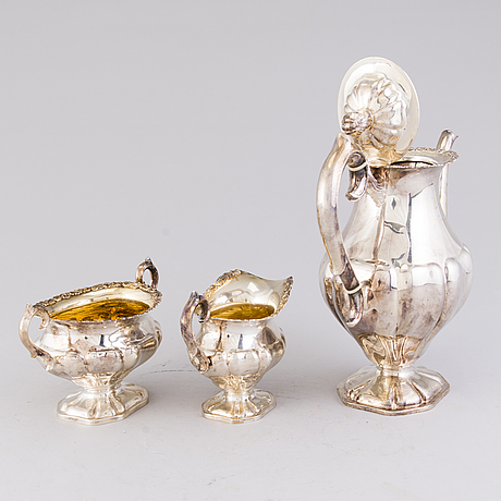 Kaffeservis, 3 delar, silver, hopeakeskus tavastehus 1954 1956. total vikt 1024 g