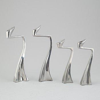 "MATTHEW HILTON, ljusstakar, 2 par, ""Swan"", aluminium, 1980-tal."