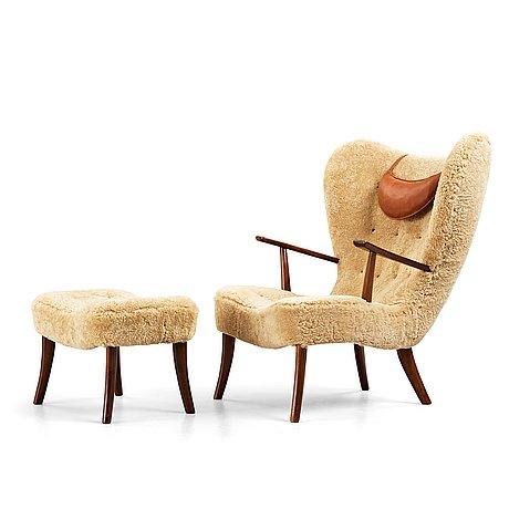 "Ib madsen & acton schubell, ""pragh"", an easy chair and ottoman, madsen & schubell co, denmark 1940-50's."