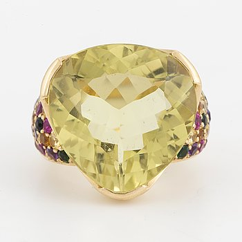 A lemon quartz and multi-coloured sapphire, tsavorite and amethyst ring.