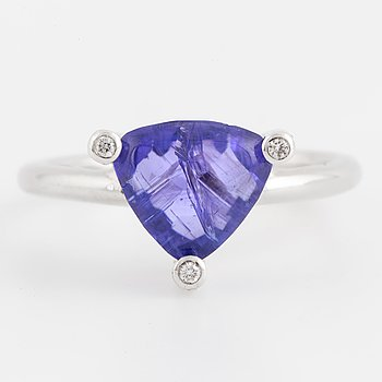 A tanzanite and diamond ring.