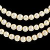 Three strand cultured pearl necklace, clasp with old cut diamonds