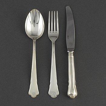 BESTICKSERVIS, 36 delar, silver, modell Chippendale, GAB, 1990-tal.