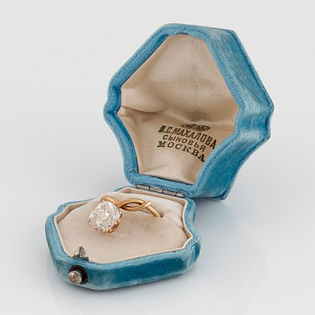 A ring set with an old-cut diamond ca 3.50 cts quality ca j/k vs.