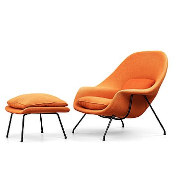 "1. Eero Saarinen, a ""Womb Chair"" with ottoman, probably produced on license by Nordiska Kompaniet, Sweden 1960's."
