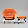 """Eero saarinen, a """"womb chair"""" with ottoman, probably produced on license by nordiska kompaniet, sweden 1960's."""