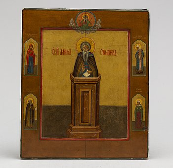 "ICON, tempera on panel, possibly ""Simeon Stolpnik (Stylite)"", 1800/1900."