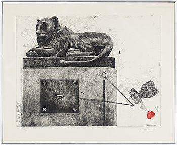 PG THELANDER, a etching in colors, signed and numbered 33/90.