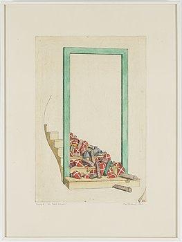 STEN EKLUND, akvarellerad etsning, 1978, signerad.