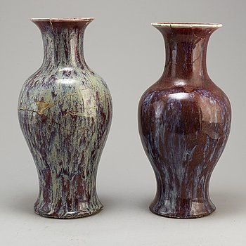 Two sang de bouef vases, Qing dynasty, 19th century.