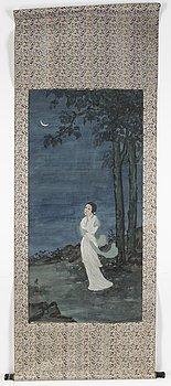 RULLMÅLNING, attribuerad till Fang Junbi, efter, tusch och färg på papper, 1900-tal.