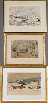 AARRE HEINONEN, akvareller, 3 st, signerade.